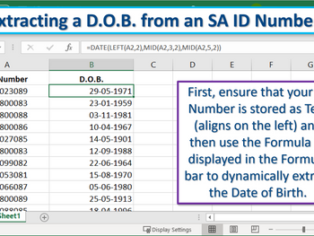 Excel Tip - Extracting a Date of Birth from an ID Number