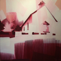 "Mountainside Chapel – oil on canvas – 40"" x 40"" – $3,950"