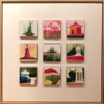 """Cincinnati, set 2 – oil on canvas – 9 grid of 5"""" x 5"""" – $1150"""