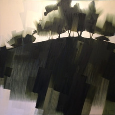"Hillside Silhouettes – oil on canvas – 40"" x 40"""