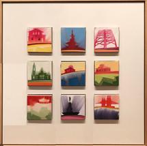 """Cincinnati, set 1 – oil on canvas – 9 grid of 5"""" x 5"""" – $1150"""