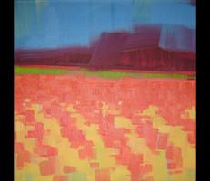 "Orange Grove – oil on canvas – set of 3, 12"" x 12"" – $600"
