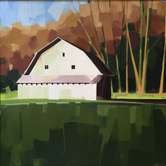 """Barns of Valle Crucis, NC – oil on canvas – 34"""" x 34"""""""