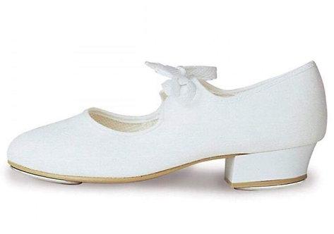 White low heel tap shoe, sizes 2-5