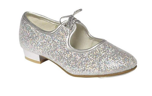 Silver hologram tap shoes child  size  5 - Adult size 4