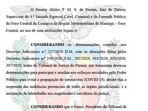 Confira decisão do 4º Juizado Especial de Maringá