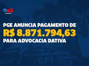 PGE anuncia pagamento de R$ 8.871.794,63 para advocacia dativa
