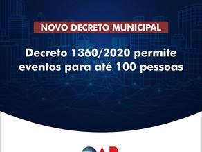 Decreto 1360/2020 permite eventos para até 100 pessoas