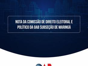 NOTA OFICIAL DA COMISSÃO DE DIREITO ELEITORAL E POLÍTICO