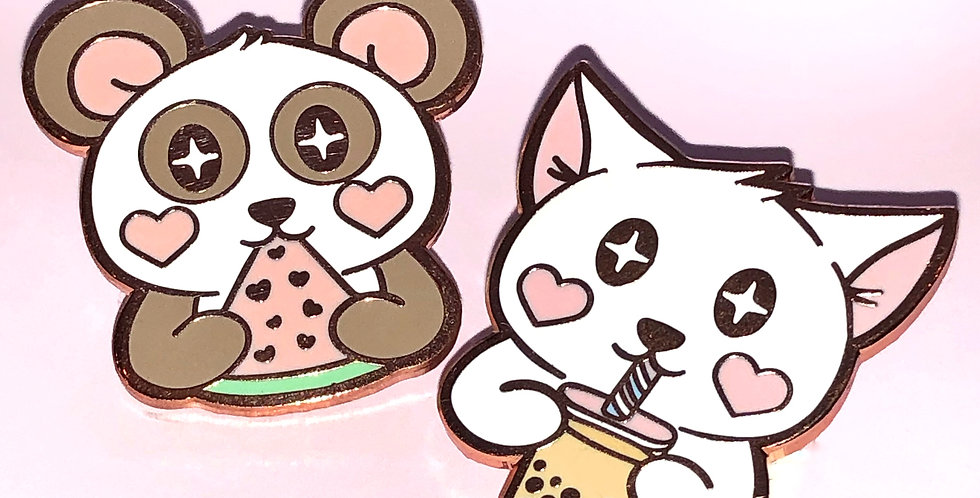 Pink Snack Time Enamel Pins