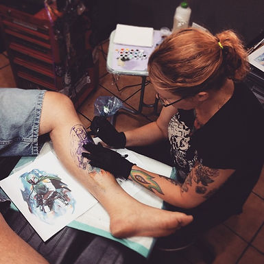 Catra Dee tattooing at Rebellion Tattoo & Piercing Langley