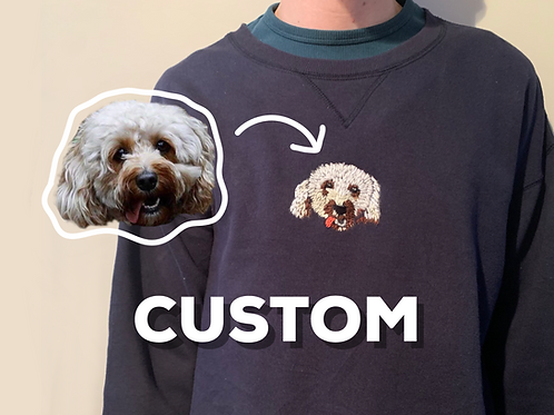 Custom Hand Embroidered Pet Sweatshirt