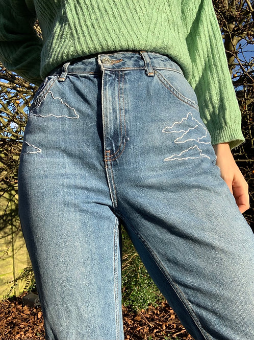 Hand Embroidered Cloud Mom Jeans *Custom Size*