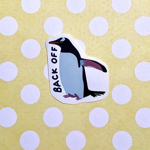 """Back Off"" Penguin Matte Sticker - Hand drawn"
