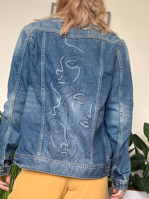 Abstract Faces Hand Painted Denim Jacket