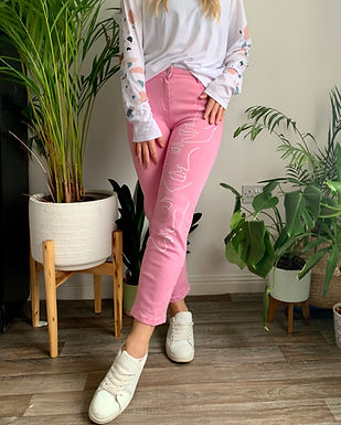 Pink Hand Painted Abstract Face Mom Jeans
