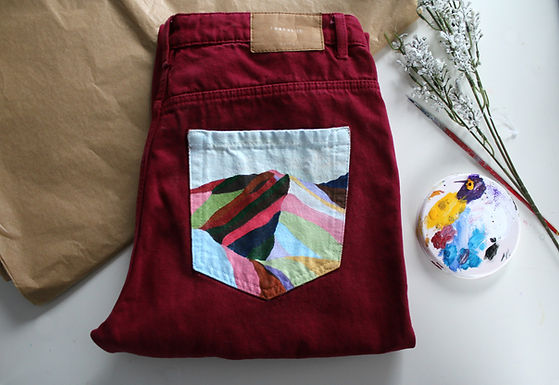 Vinicunca Mountains Hand Painted Zara Mom Jeans
