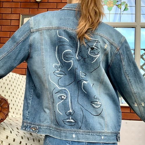 Abstract Face Hand Painted Denim Jacket