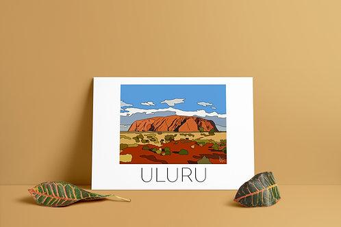 Uluru Hand Drawn Print - Black Writing