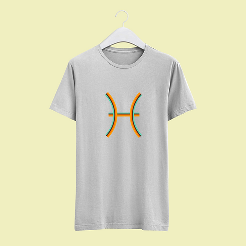 Pisces Retro Star Sign T-shirt - Large Badge