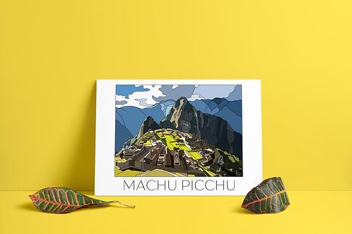 Machu Picchu Hand Drawn Print - Black Writing
