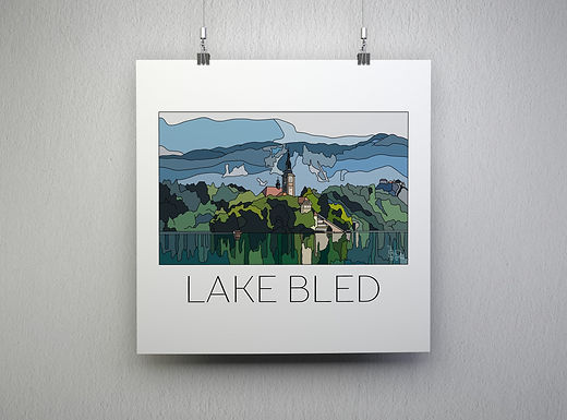 Lake Bled Hand Drawn Print - Black Writing