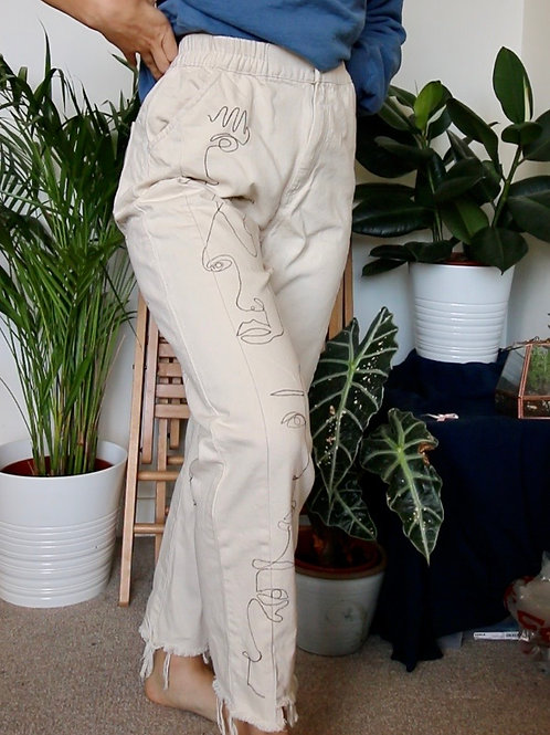 Hand Painted Abstract Faces High Waisted Cream Jeans