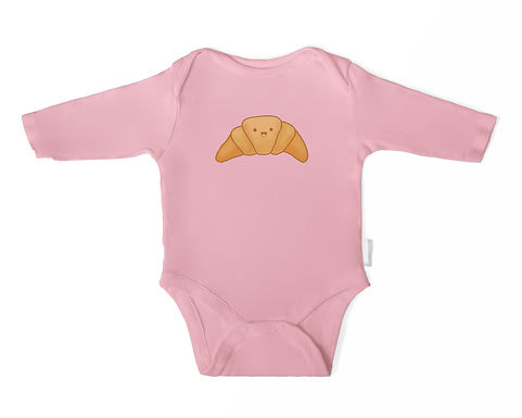 Happy Croissant Long Sleeve Baby/Toddler Onesie