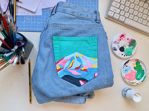 Hand Painted Block Colour Mountain Mom Jeans - Pull&Bear