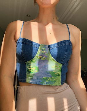Water Lilies Hand Painted Bustier/Corset Style Top