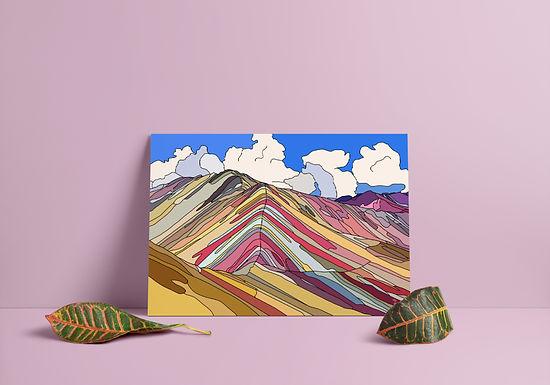 Rainbow Mountain/Vinicunca Hand Drawn Print