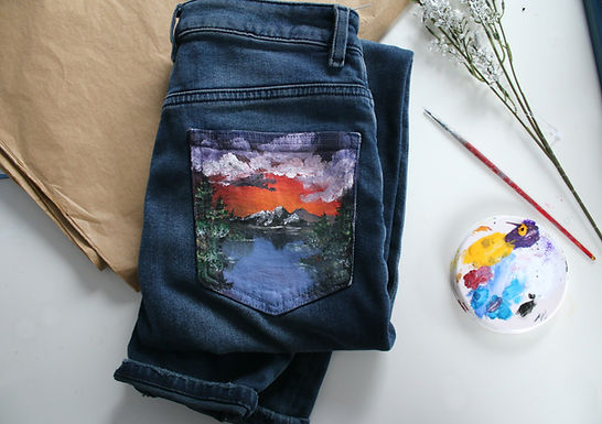 Bob Ross Inspired Sunset Hand Painted ASOS Mom Jeans