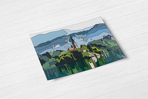 Lake Bled Hand Drawn Print