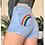 Thumbnail: Pride Double Rainbow Hand Painted Denim Shorts