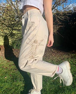 Da Vinci Cream Hand Drawn Trousers