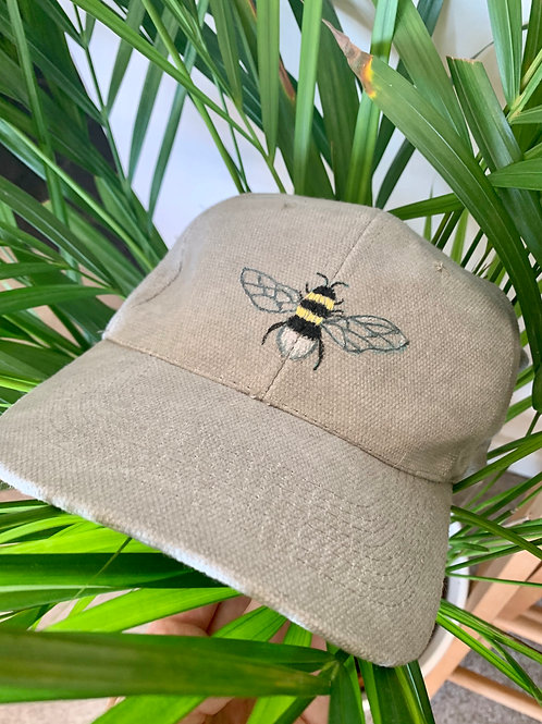 Hand Embroidered/Fabric Paint Bee Cap