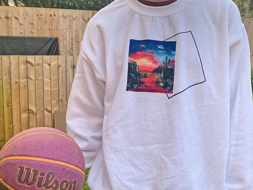 Bob Ross Hand Painted Sweatshirt