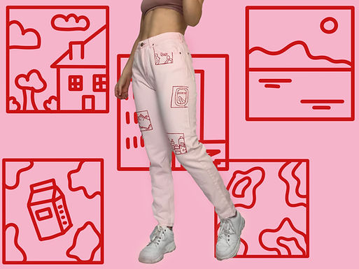 Pink Story Board Jeans