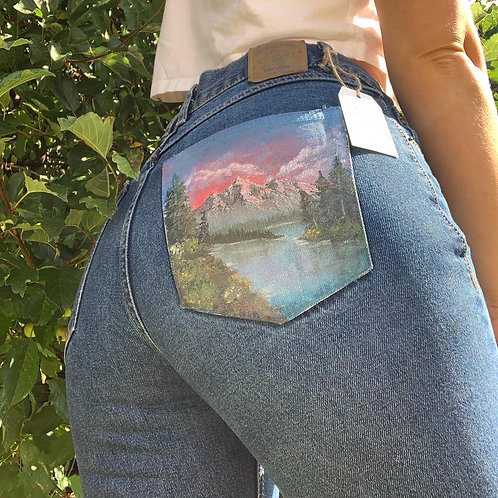 Pink Mountains Bob Ross Inspired Hand Painted Mom Jeans