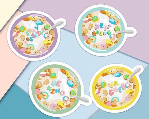Happy Alphabet Cereal Handmade Stickers - 4 Pack