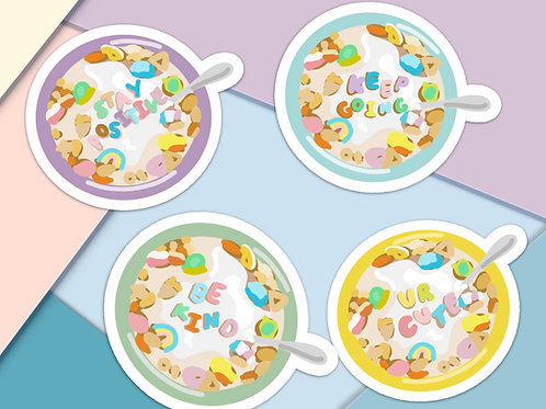 Happy Alphabet Cereal Handmade Stickers - 4 Pack