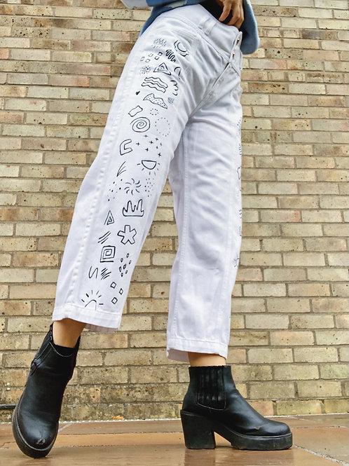 Hand Painted Doodle Shapes Wide Leg Jeans