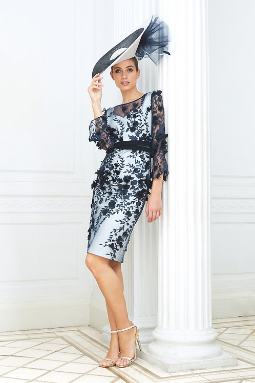Luis Civit - Navy embroidered layer over pale blue dress