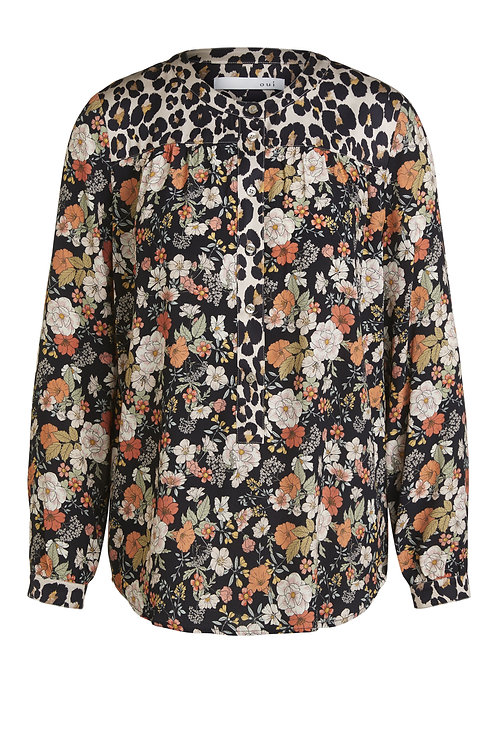 Oui -Floral design with animal print, blouse