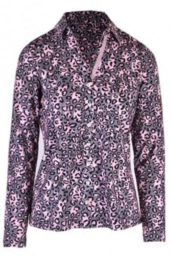 Just white - Jersey pink and grey animal print shirt