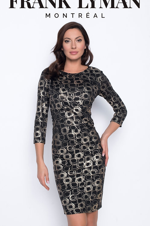 Frank Lyman - Black jersey dress with gold circle print.