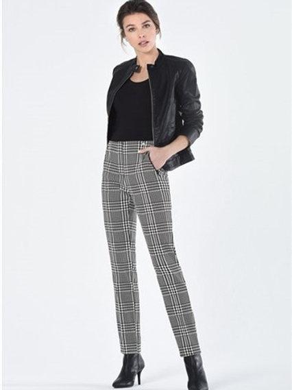 Robell - Black and white colour plaid 'Rose' trouser.