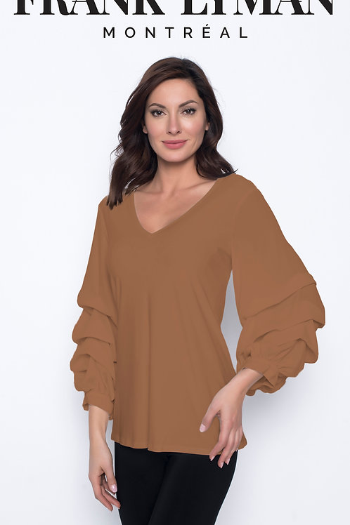 Frank Lyman - Nutmeg top with statement ruffle sleeves