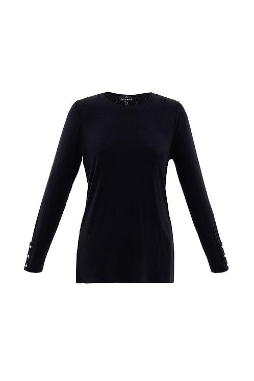 Marble - black long sleeve top