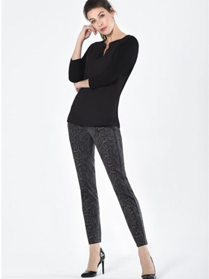 Robell- Black animal 'Rose' super slim trouser